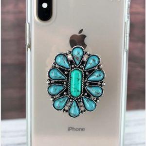 Western Faux Turquoise Phone Grip Pop Socket Charm
